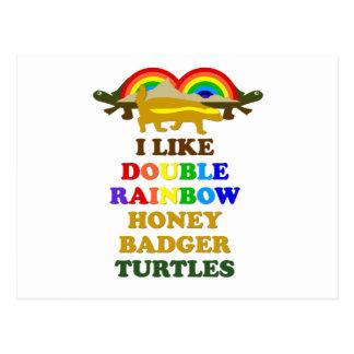 Tengo gusto de tortugas dobles del tejón de miel postal