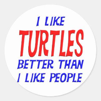 Tengo gusto de tortugas mejores que tengo gusto pegatina redonda