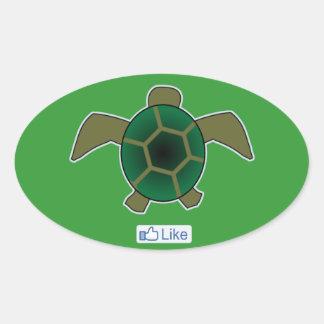 Tengo gusto de tortugas pegatina ovalada