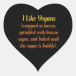 Tengo gusto de veganos calcomanías corazones personalizadas