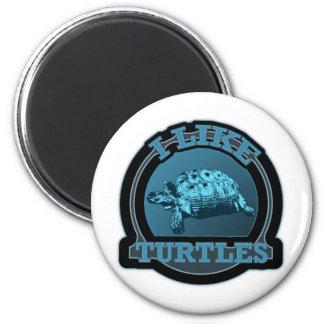 Tengo gusto del círculo del azul de las tortugas imán redondo 5 cm