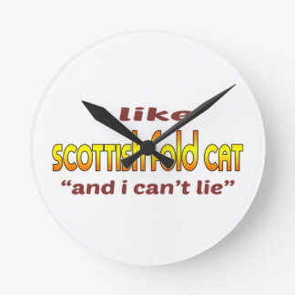 Tengo gusto del gato del doblez del escocés reloj redondo mediano