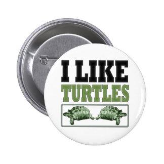 Tengo gusto del texto grande de las tortugas pin redondo de 2 pulgadas