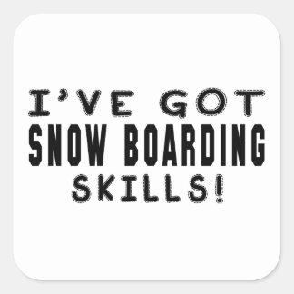 Tengo habilidades del embarque de la nieve calcomanía cuadrada personalizada