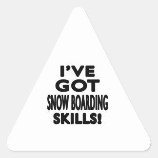 Tengo habilidades del embarque de la nieve calcomanía triangulo personalizadas