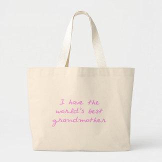 Tengo la mejor abuela del mundo (el rosa) bolsa tela grande