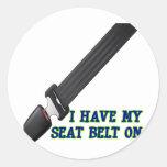 Tengo mi cinturón de seguridad encendido pegatinas redondas