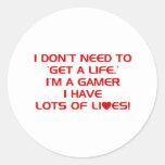 Tengo porciones de vidas - videojuegos del juego etiquetas redondas