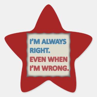 Tengo siempre razón pegatinas forma de estrella