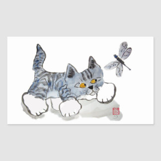 Tengo solamente ojos para usted - gatito y pegatina rectangular