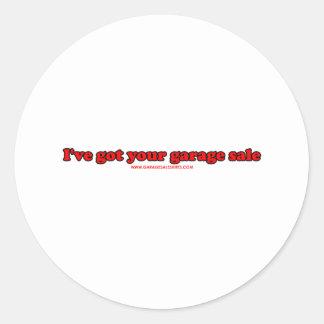 Tengo su venta de garaje pegatina redonda