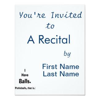 """tengo texto negro de los pickleballs de las bolas invitación 4.25"""" x 5.5"""""""