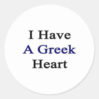 Tengo un corazón griego pegatina redonda