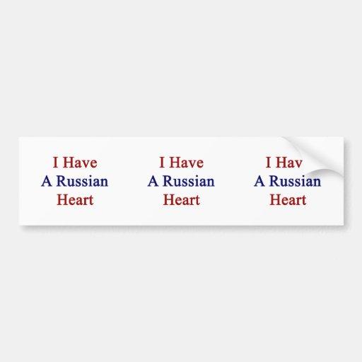 Tengo un corazón ruso pegatina para auto