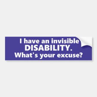 ¿Tengo una incapacidad invisible, qué soy su Pegatina Para Auto