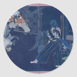 Tengu Dance circa 1898. Japan. Classic Round Sticker