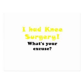 Tenía cirugía de la rodilla cuál es su excusa tarjetas postales