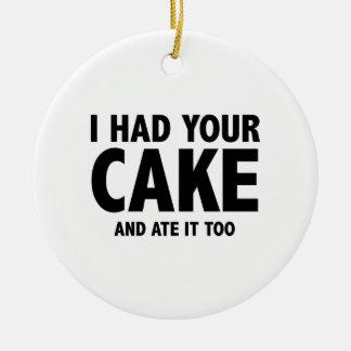 Tenía su torta y yo la comí también adorno navideño redondo de cerámica