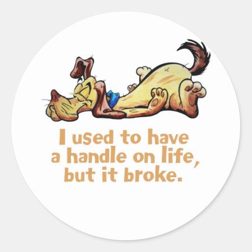 Tenía una manija el vida etiquetas redondas