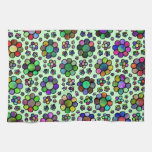 Teñido anudado colorido del estampado de plores toallas de cocina
