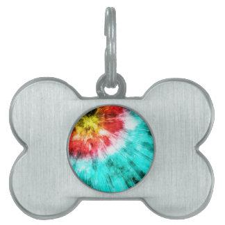 Teñido anudado colorido placa de mascota