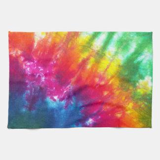 Teñido anudado del arco iris toalla de mano