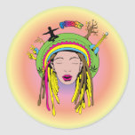 Teñido anudado del chica del Hippie del ~ 60s del Pegatina Redonda
