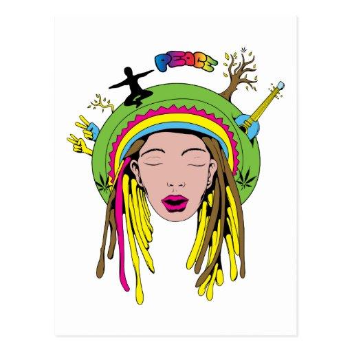 Teñido anudado del chica del Hippie del ~ 60s del Postal