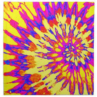 Teñido anudado espiral amarillo, rosado y azul servilleta