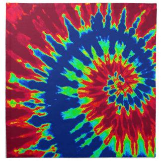 Teñido anudado espiral azul marino y rojo servilleta imprimida