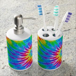Teñido anudado espiral del arco iris accesorios de baño