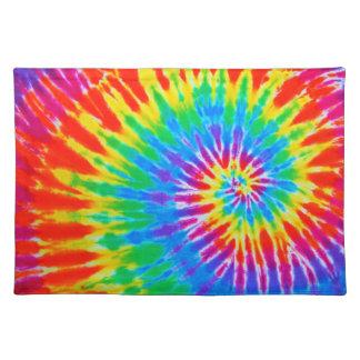 Teñido anudado espiral del arco iris mantel