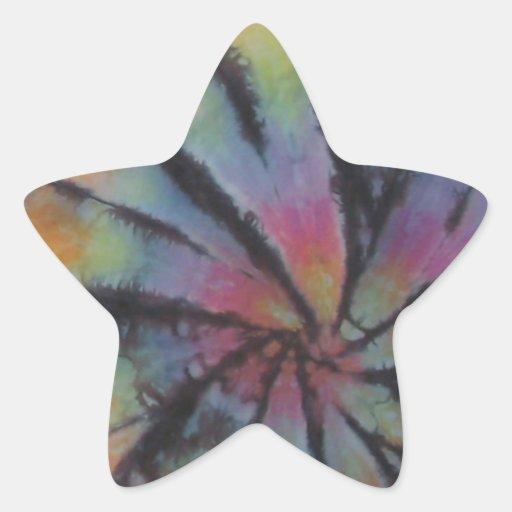 Teñido anudado espiral en colores pastel del pegatina en forma de estrella