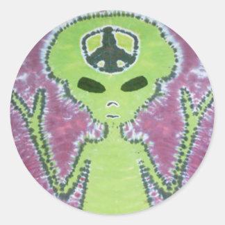 Teñido anudado extranjero verde del signo de la pegatina redonda