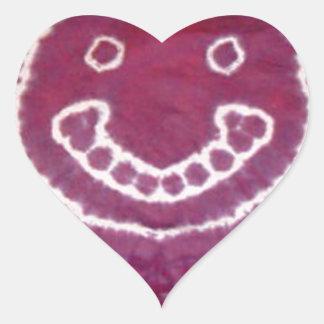 Teñido anudado feliz sonriente PhatDyes de la cara Calcomania De Corazon Personalizadas