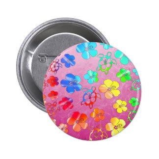 Teñido anudado Honu e hibisco Pins