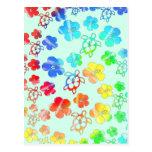 Teñido anudado Honu e hibisco Postales