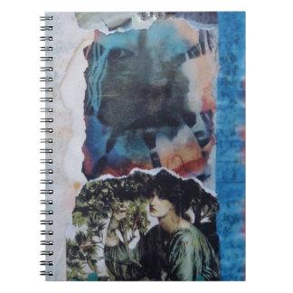 Teñido anudado misterioso del azul del vintage de cuadernos