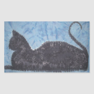 Teñido anudado PhatDyes del gato negro Rectangular Pegatinas