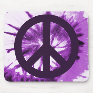 Teñido anudado púrpura con símbolo de paz alfombrilla de raton