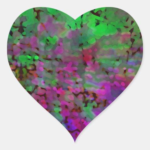 Teñido anudado púrpura y verde calcomania de corazon