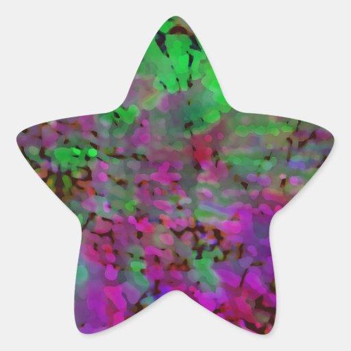 Teñido anudado púrpura y verde pegatina en forma de estrella
