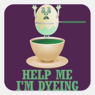 Teñido divertido del huevo de Pascua Pegatina Cuadrada