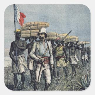 Teniente Mizon en su misión 1892 Pegatina Cuadrada