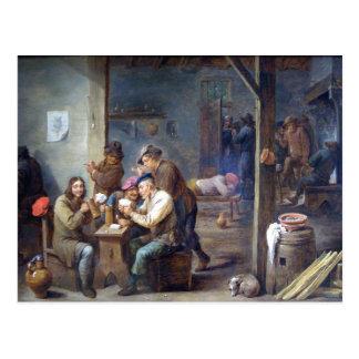 Teniers el más joven - escena de la taberna, 1658 postal