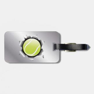 tenis a través de la hoja de metal etiqueta de equipaje