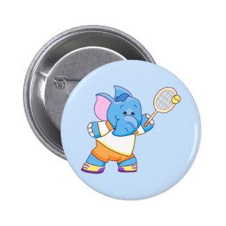 Tenis azul del elefante de Lil Pin Redondo De 2 Pulgadas