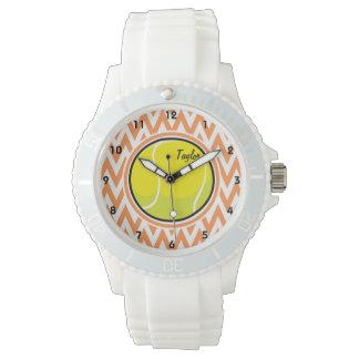 Tenis; Chevron anaranjado y blanco Relojes De Pulsera