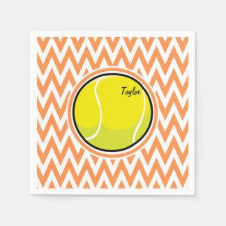 Tenis; Chevron anaranjado y blanco Servilletas Desechables