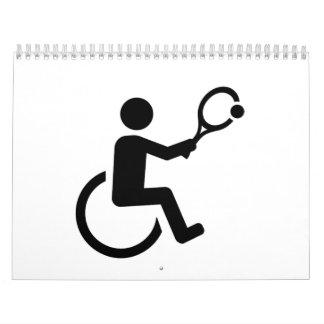 Tenis de la silla de ruedas calendario de pared